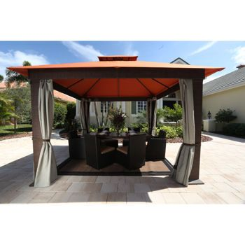 "Seville 12' x 12' Soft Top Gazebo with Mosquito Netting and Privacy Panels $1900. Outside Dimensions-Canopy 12'2"" x 12'2""  Outside Dimensions-Posts 10'6""  Inside Peak Height 10' 7"" overall height  Entry headroom height 6'8"""