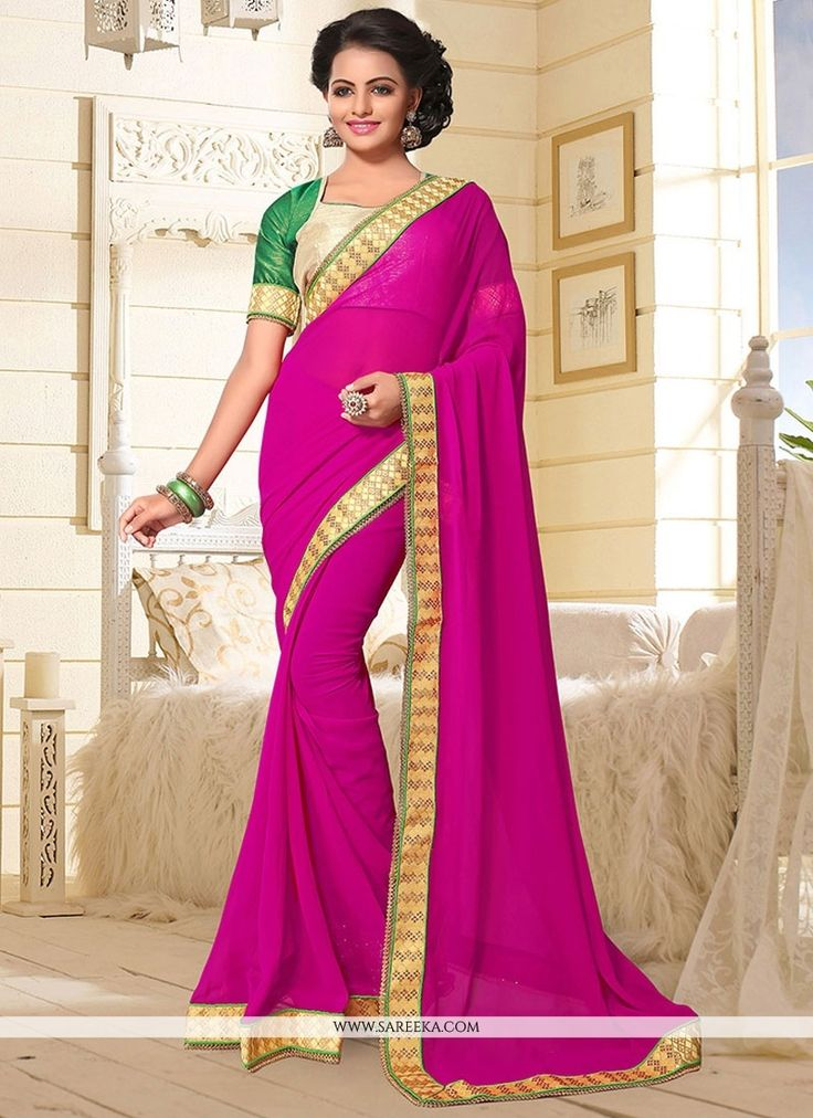 Real attractiveness will come out of your dressing style with this magenta faux georgette classic designer saree. The ethnic patch border work to your apparel adds a sign of magnificence statement wit...