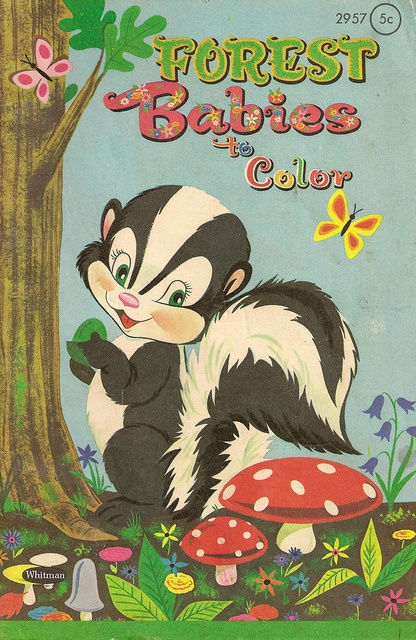 Forest Babies To Color Vintage Coloring Book
