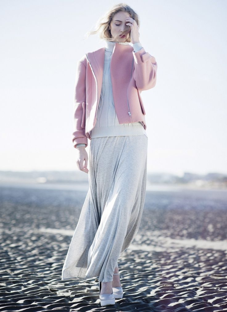 Pastel look 4 - #pink #coat #baby #blue #jumper #sweater #grey #maxi #dress #shoptheshoot@maven46.com