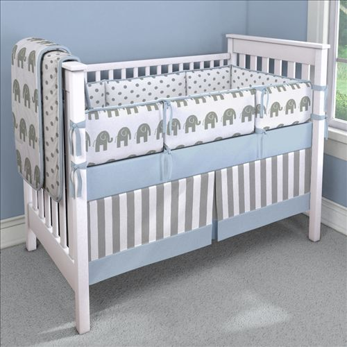 Blue Elephants Nursery Idea | Customizable Crib Bedding Set | Carousel Designs