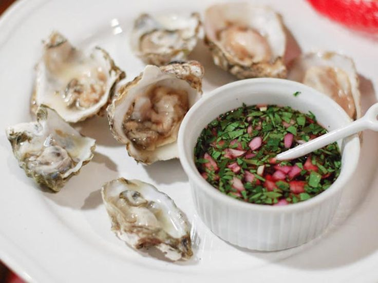 Oysters with Red Wine, Shallot and Cucumber Mignonette Recipe - perfect fancy appetizer - you can order the oysters by the dozen on this website too!