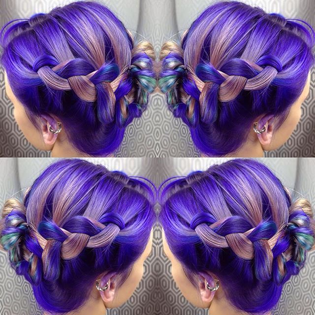 Beautiful purple hair color with cool metallic highlights by Jenna Chisholm hotonbeauty.com braids braided style