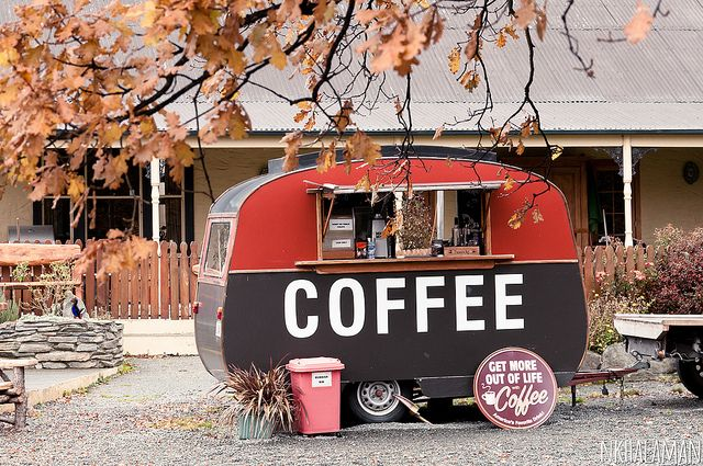 A coffee Van, South Island New Zealand - If I saw this I would have to stop!