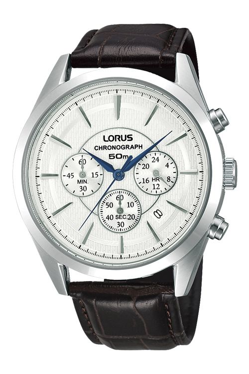 Mens' Black Leather Strap with Pearl Dial. #loruswatches #watch #Swish
