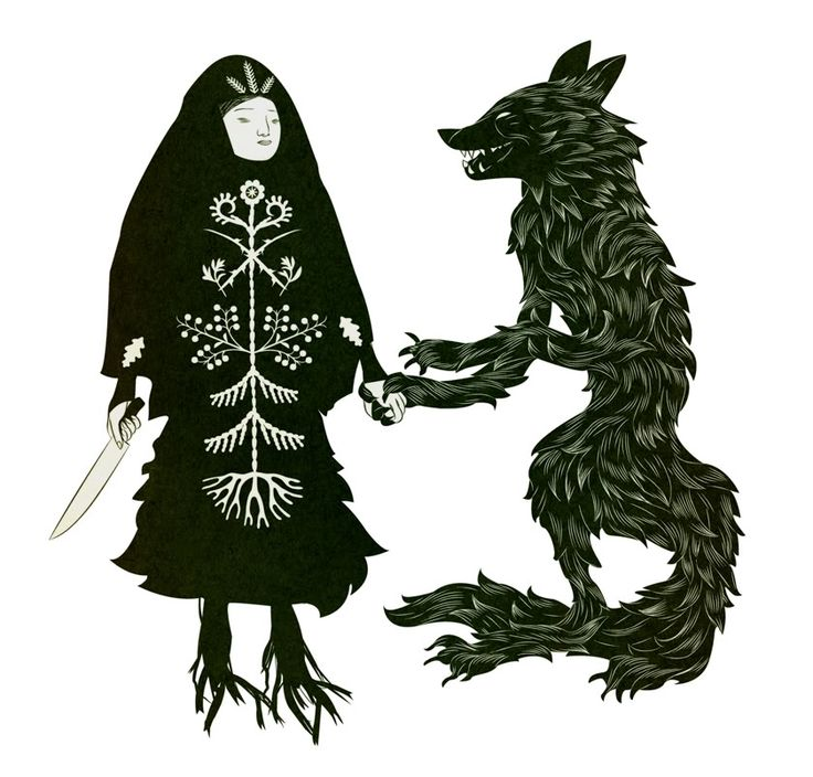 """From Baba Yaga and the Wolf by Tin Can Forest: """"Let us, wytche and lycanthrope, spin a jig, then howl at the moon, together."""""""