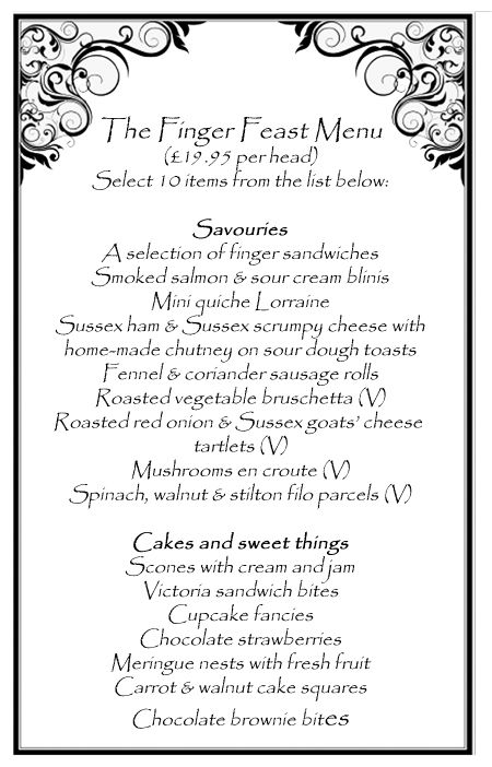 One of our afternoon tea menus                                                                                                                                                                                 More