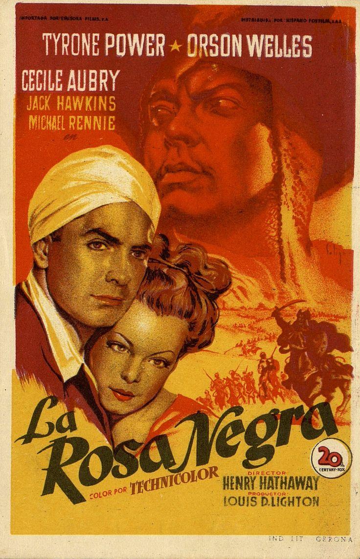 """#TalDiaComoHoy, 5 de mayo de 1914, nacía el actor Tyrone Power, estrella cinematográfica de los estudios Twentieth Century Fox, que murió prematuramente mientras rodaba la película """"Salomón y la reina de Saba"""". Este es el programa de mano de otra de las películas que protagonizó y forma parte de nuestra exposición Próximo estreno.100. SOLIGÓ.   La rosa negra. Dirigida por Henry Hathaway. Gerona: Ind. Lit., [1950]. #ProgramasdeMano #BbtkULL #SOLIGO #DiadelLibro2014"""