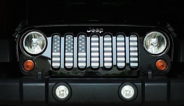 Made in the USA - Patriotic Flag Grille Insert Ships FREE! Transform the look of your Jeep! Order now: https://www.jeepworld.com/products/dirty-acres-american-stealth-tactical-grill-insert-wrangler-jk-jku