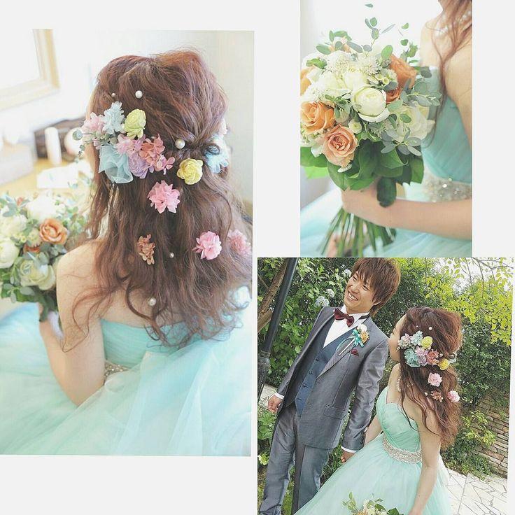 結婚式で人気の髪型「ダウンスタイル」のお洒落な飾りつけアレンジ | marry[マリー]