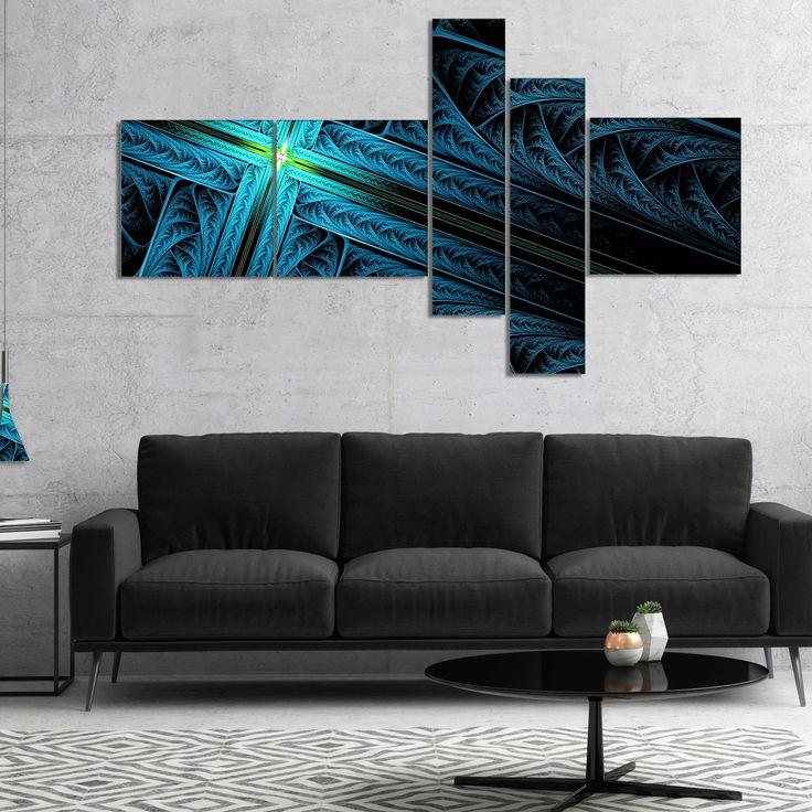 Designart 'Turquoise Fractal Cross Design' Abstract Canvas Art Print
