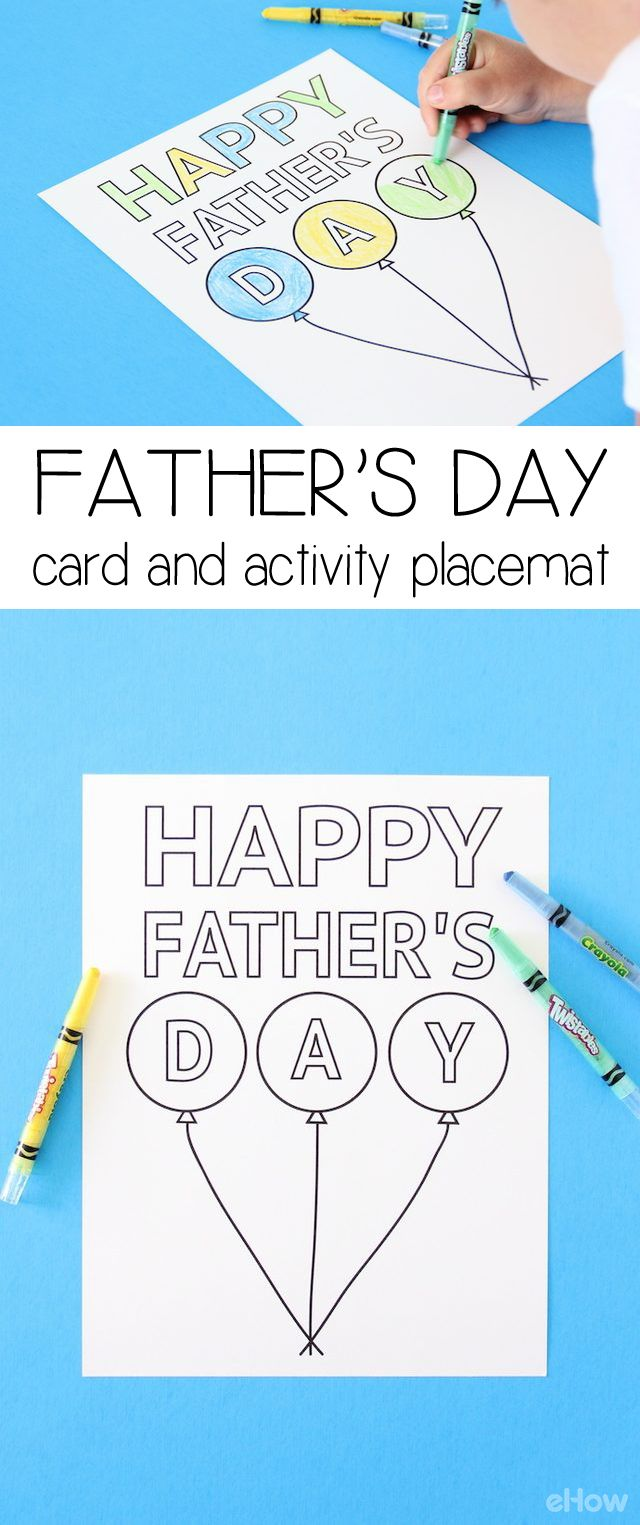 Free Downloadable place mat and card (two-in-one) for Father's Day! An activity the kids will love to do while sitting at the breakfast table and dad can put up on his wall. Win-win! Free downlable template here: www.ehow.com/info_12340459_fathers-day-diy-card-activity-placemat.html?utm_source=pinterest.com&utm_medium=referral&utm_content=inline&utm_campaign=fanpage