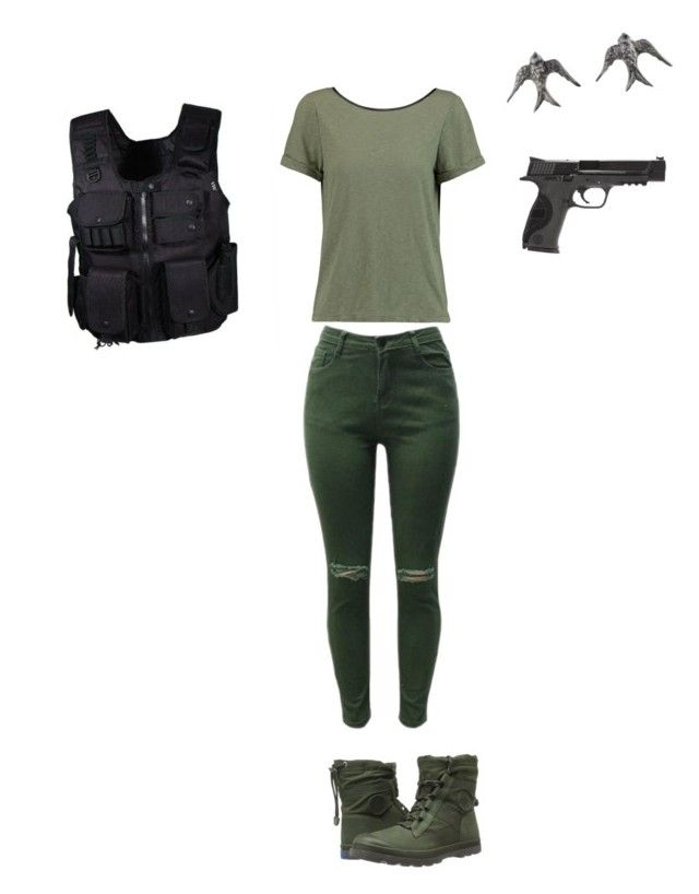 """I am falcon"" by kailynwit on Polyvore featuring Swat, Alice + Olivia, Smith & Wesson, Blackbird and the Snow and Palladium"