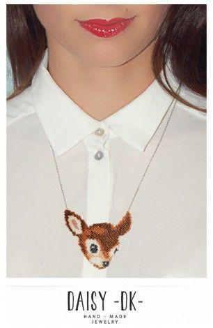 #COLLIER YVON / DAISY K Tissage de perles japonaises entièrement fait main Bambi style rétro