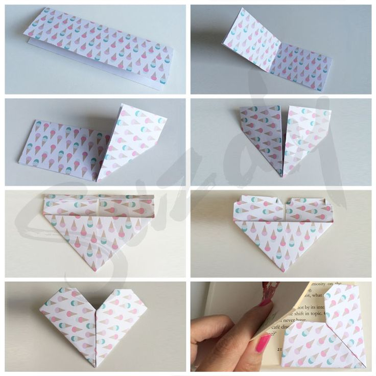 Harten boekenlegger - Kijk hoe je deze superleuke boekenlegger vouwt. #boekenlegger #diy #origami #vouwen #fold #bookmark