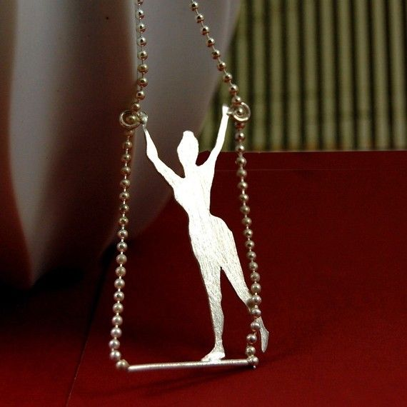 Lady Sweet Pea Trapeze Artist Sterling Silver Circus Necklace by Markhed $70