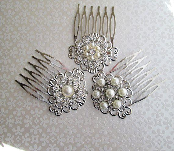 Bridal Hair Combs Wedding Hair Clips Pearl Hair Piece small hair comb Bridesmaid brooch comb silver hair clips crystal barrette rhinestone