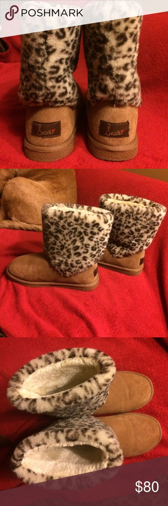 Snooki Mid Calf Suede Boots Fur lined, barely worn tan/leopard Snooki Boots Size 9 Snooki Shoes Winter & Rain Boots