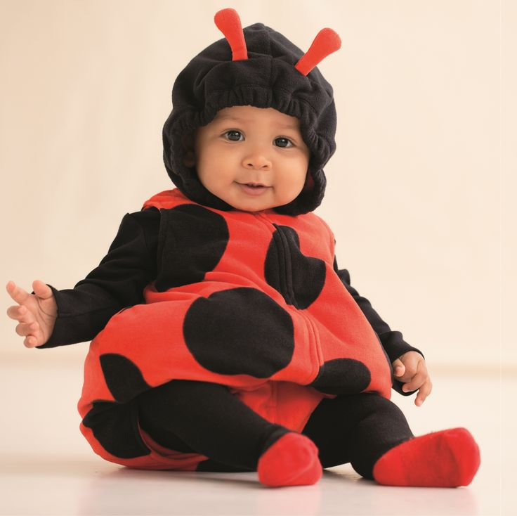 Such a cute little ladybug. Baby girl will look precious in this ladybug Halloween costumes with matching black long-sleeve top and tights. #carters