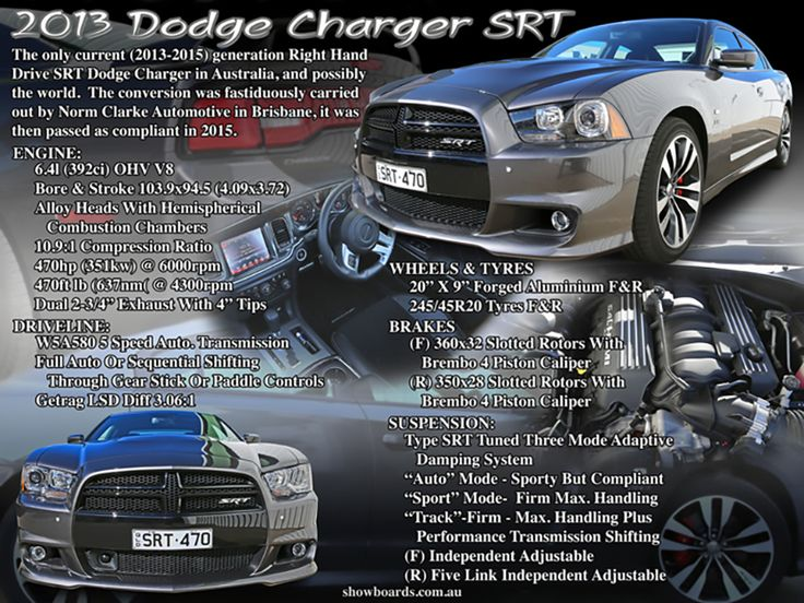 Dodge Charger SRT car show board, display board