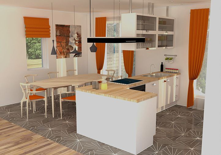 Kitchen + Dining Room Design 3D Visual * Sketchup + Podium * Infocus  Interior Design