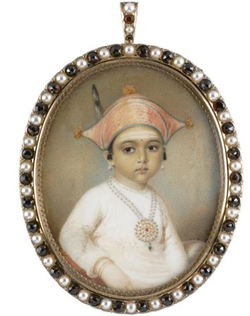 """The above potrait is of Princess Mooda Maji ( or perhaps Princess """"Muthamma"""" ), the second daughter of Dodda Virajendra, the Raja of Coorg and the architect of the Coorg victory against the Mysorean army of Tipu Sultan, who ruled from 1788 to 1809. This is the only knowportraitof the Princess of Coorg."""