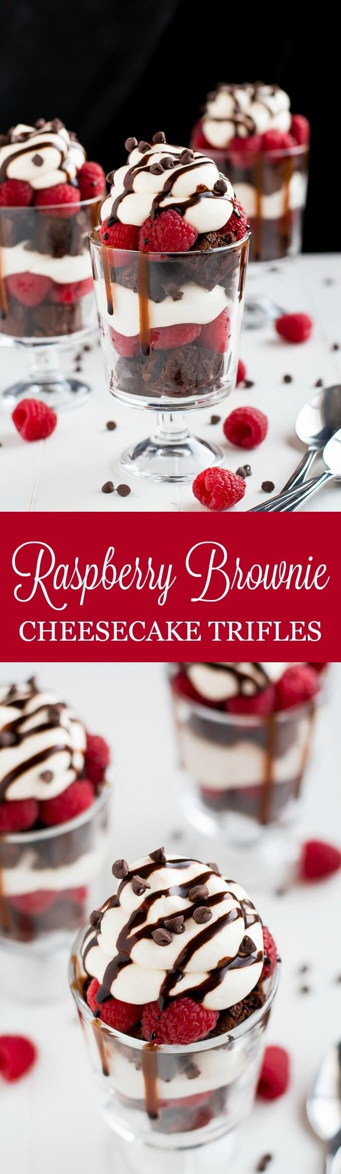 """Nothing says """"love"""" quite like these Raspberry Brownie Cheesecake Trifles made with rich chocolate made-from-scratch chocolate chip brownies, easy no-bake cheesecake filling, and fresh sweet raspberries. #chocolate #cheesecake #valentinesday #brownies"""