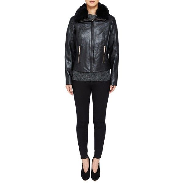 Ted Baker Tamri Shearling Leather Jacket (£187) ❤ liked on Polyvore featuring outerwear, jackets, leather biker jackets, ted baker jacket, genuine leather biker jacket, fur-collar leather jackets and collar jacket