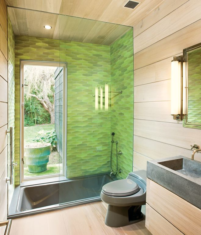 in the bathroom martin selected heath ceramics conclave diamond tile in citrus green for the glass enclosed kohler tub which is outfitted with nickel - Bathroom Designs Kohler