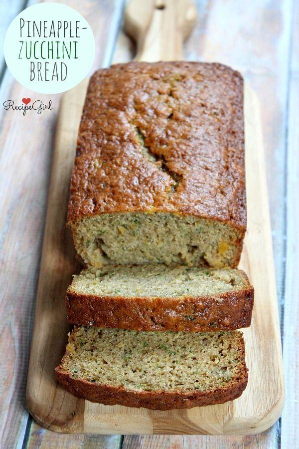Pineapple Zucchini Bread uses applesauce to keep it moist via @RecipeGirl {recipegirl.com}