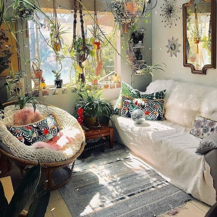 30 Beautiful Rustic Bohemian Living Room Design Ideas With