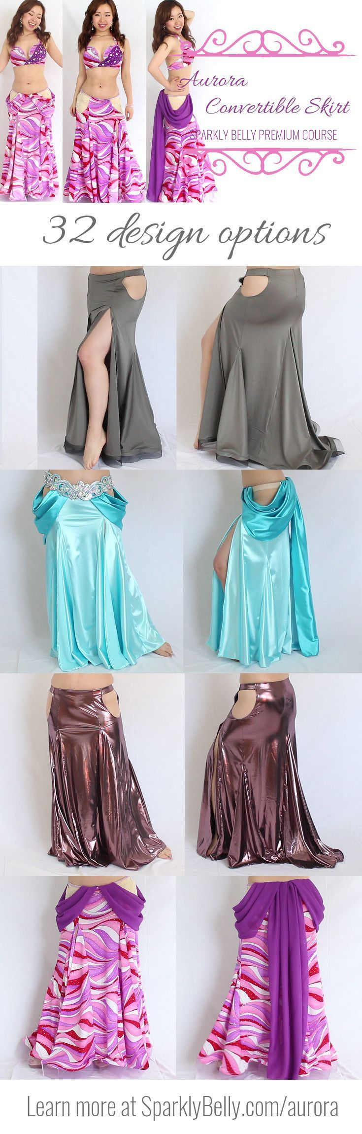 32 beautiful design options in 1 course - Aurora Convertible Skirt! #BellyDancingCostumes