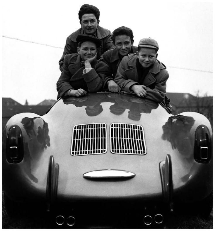 1954. Ferry Porsche's sons Hans-Peter (b.1940), Ferdinand Alexander (b.1935), Gerhard (b.1938) and Wolfgang (b.1943) in a Porsche 550 Spyder...