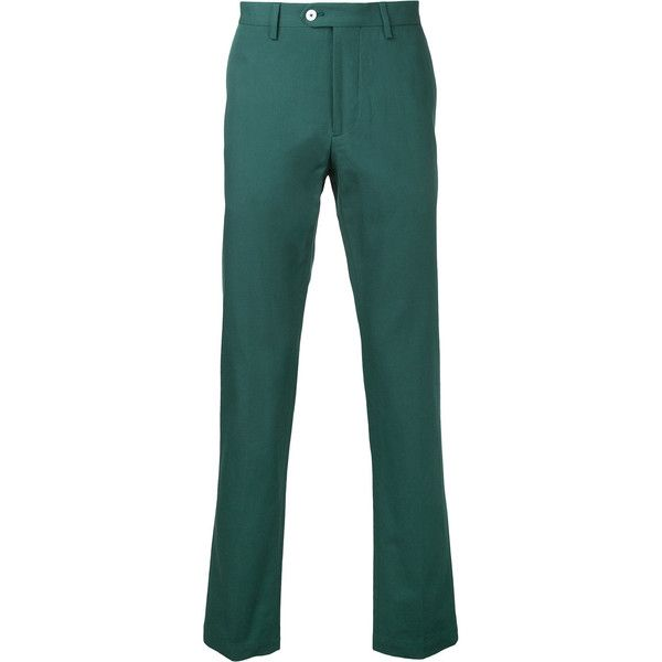 Kent & Curwen classic chinos (590 AUD) ❤ liked on Polyvore featuring men's fashion, men's clothing, men's pants, men's casual pants, green, mens chino pants, mens green chino pants, mens chinos pants, mens green pants and mens cotton pants