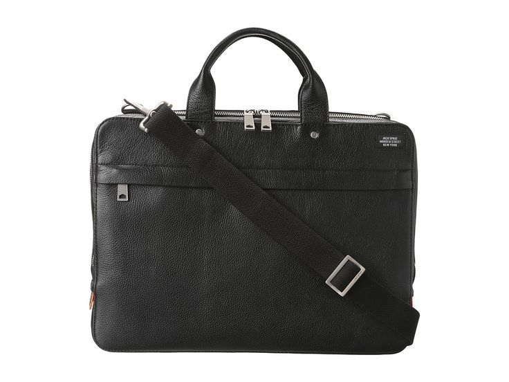 JACK SPADE JACK SPADE - MASON LEATHER SLIM BRIEF (BLACK) BRIEFCASE BAGS. #jackspade #bags #crossbody #leather #lining #shoulder bags #hand bags #nylon #
