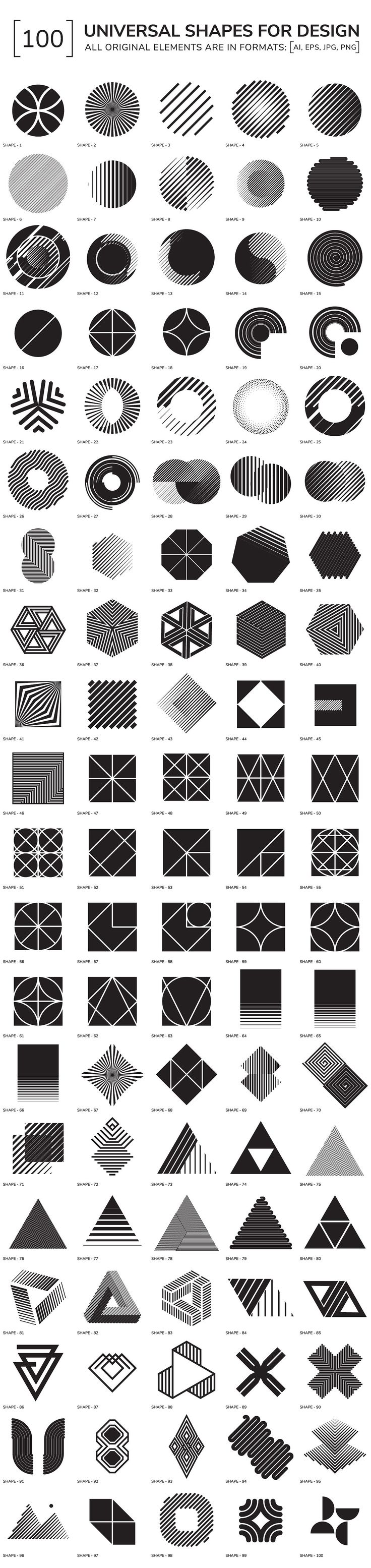 100 geometric shapes by Vanzyst on @creativemarket