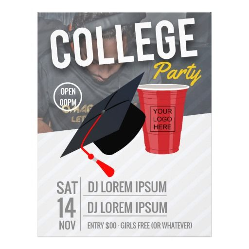 College Party announcement add logo and photos Flyer