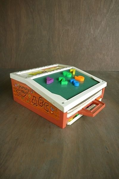 Fisher price desk with magnetic letters and chalkboard.....remember it well!