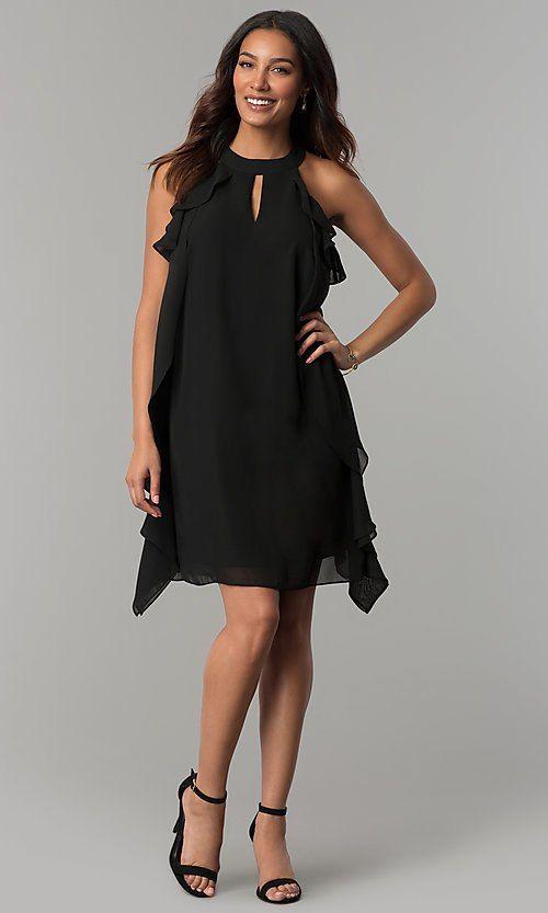 fc21b269a3f Image of short black chiffon wedding-guest dress with ruffles. Style   JU-TI-T0645 Detail Image 2