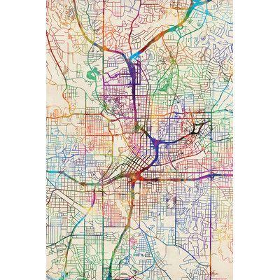 East Urban Home Urban Rainbow Street Map Series: Atlanta, Georgia, USA by Michael Tompsett Graphic Art on Wrapped Canvas Size: