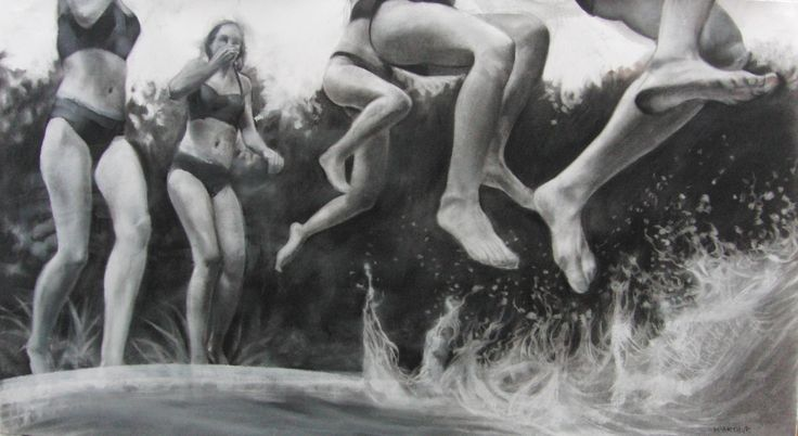 Watery Days, Charcoal on fabriano paper, 60cm x 110cm, 2016