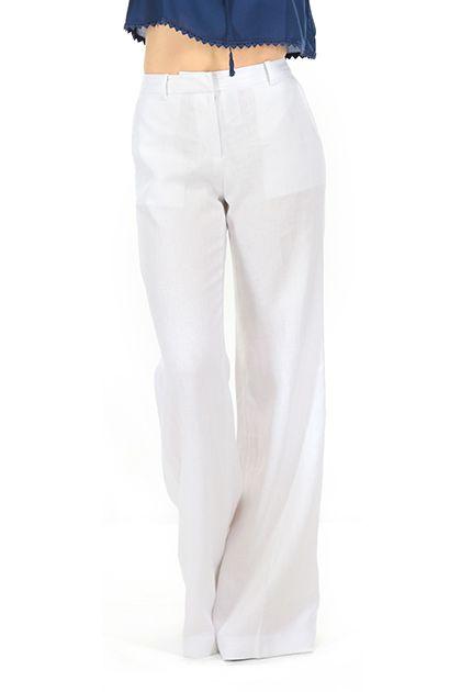 Michael Kors - Pantaloni - Abbigliamento - Pantaloni in lino con gamba ambia e zip di chiusura sul davanti. Tasca laterale ed a filetto sul retro.La nostra modella indossa la taglia /EU XS. - WHITE - € 185.00