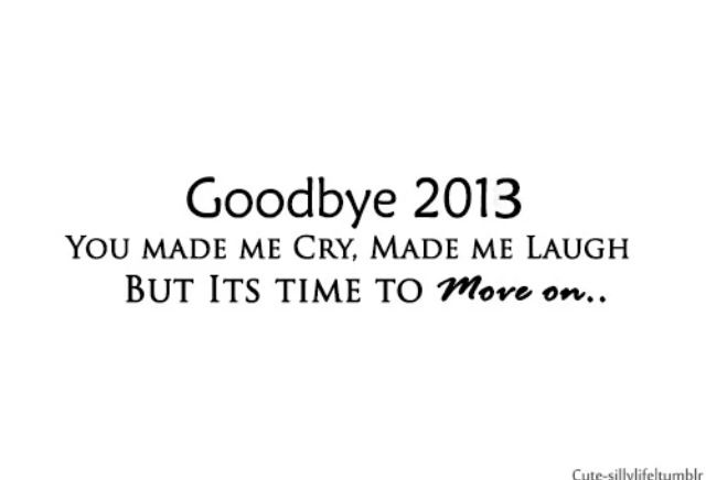 You gave me the best and worst times. 'You made me cry, made me laugh, but it's time to move on..' - Goodbye 2013