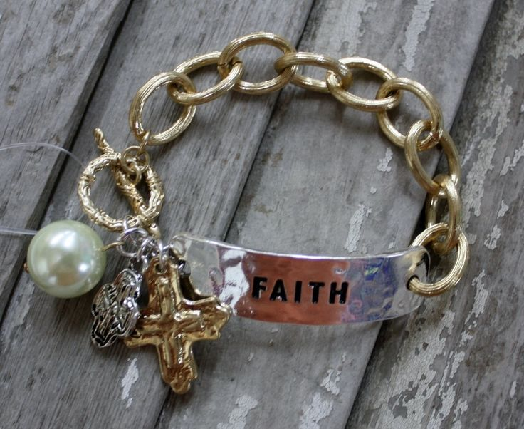 Gold and Silver Faith Bracelet with Dangle Pearl and Charms $14.95 www.gugonine.com