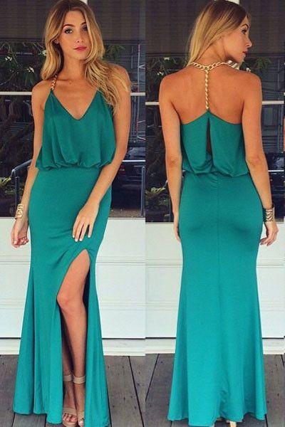 Aqua halter maxi dress