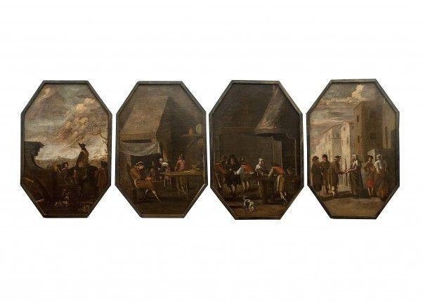 Quattro dipinti raffiguranti scene popolari Scuola Lombarda Sec XVII