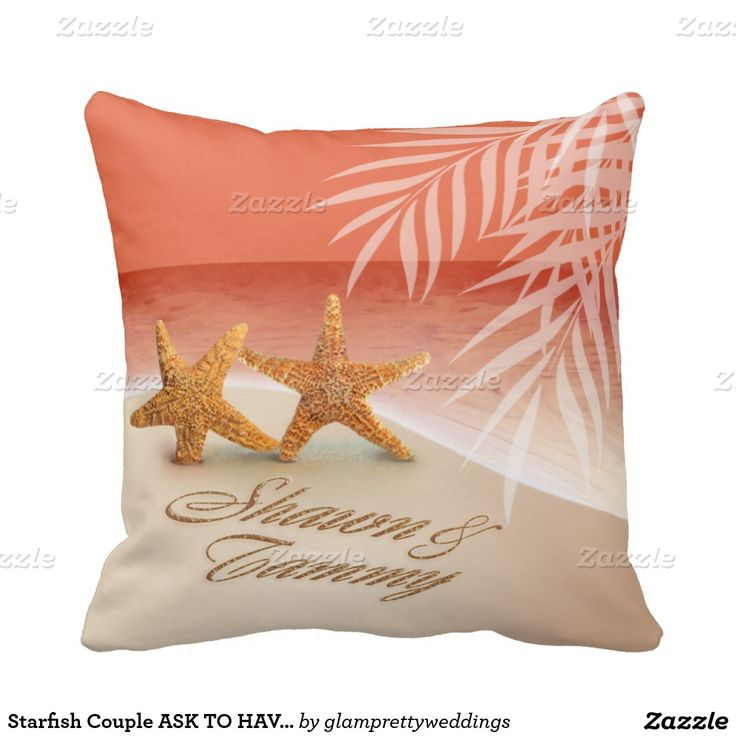 Starfish Couple ASK TO HAVE YOUR NAMES PUT IN SAND Pillow
