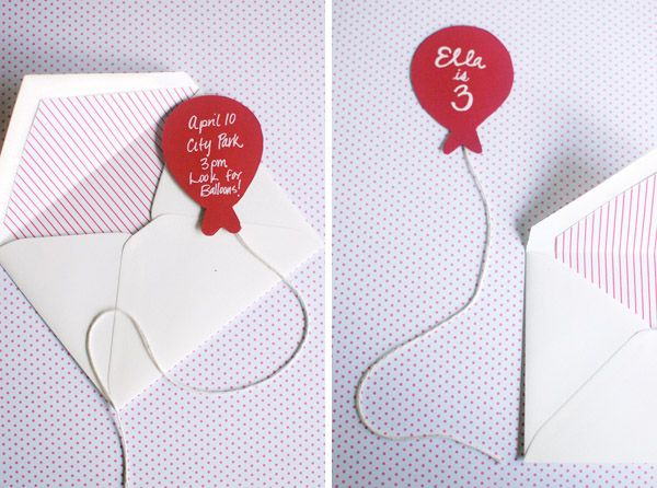 Ballon invites for Walt's first!  Found on Hellobee.com. Can't wait to start making these...
