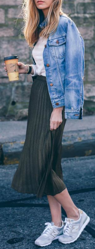 Pleated skirt + denim + Jess Ann Kirby + bottle green skirt  + faded denim jacket + Jess + degree of casual retro chic   Skirt/Tee: Reiss, Jacket: Madewell, Sneakers: New Balance.