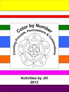 Need a different sort of assignment for a change of pace? Middle and high school students enjoy color by number worksheets. Maybe this is because they don't get to color much after elementary school? If you've never used this type of assignment before, give it a try!  This activity consists of 11 word problems to be solved using the counting principle, permutation formula, or combination formula. It serves as a nice review.